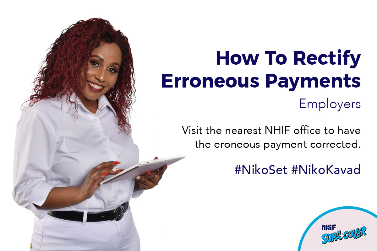An infographic poster of a female employer created by BraIT Consulting Graphic Designers explaining how to rectify National Hospital Insurance Fund (NHIF) erroneous payments made by employers