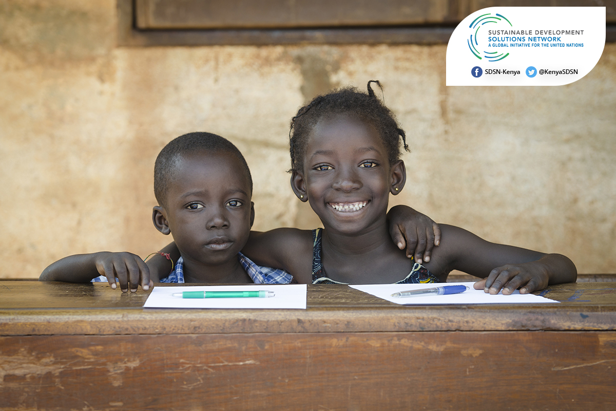 A photo poster of two young kids created by BraIT Consulting Graphic Designers explaining the achievements of the United Nations Solutions Development Network (UNSDSN) in education.