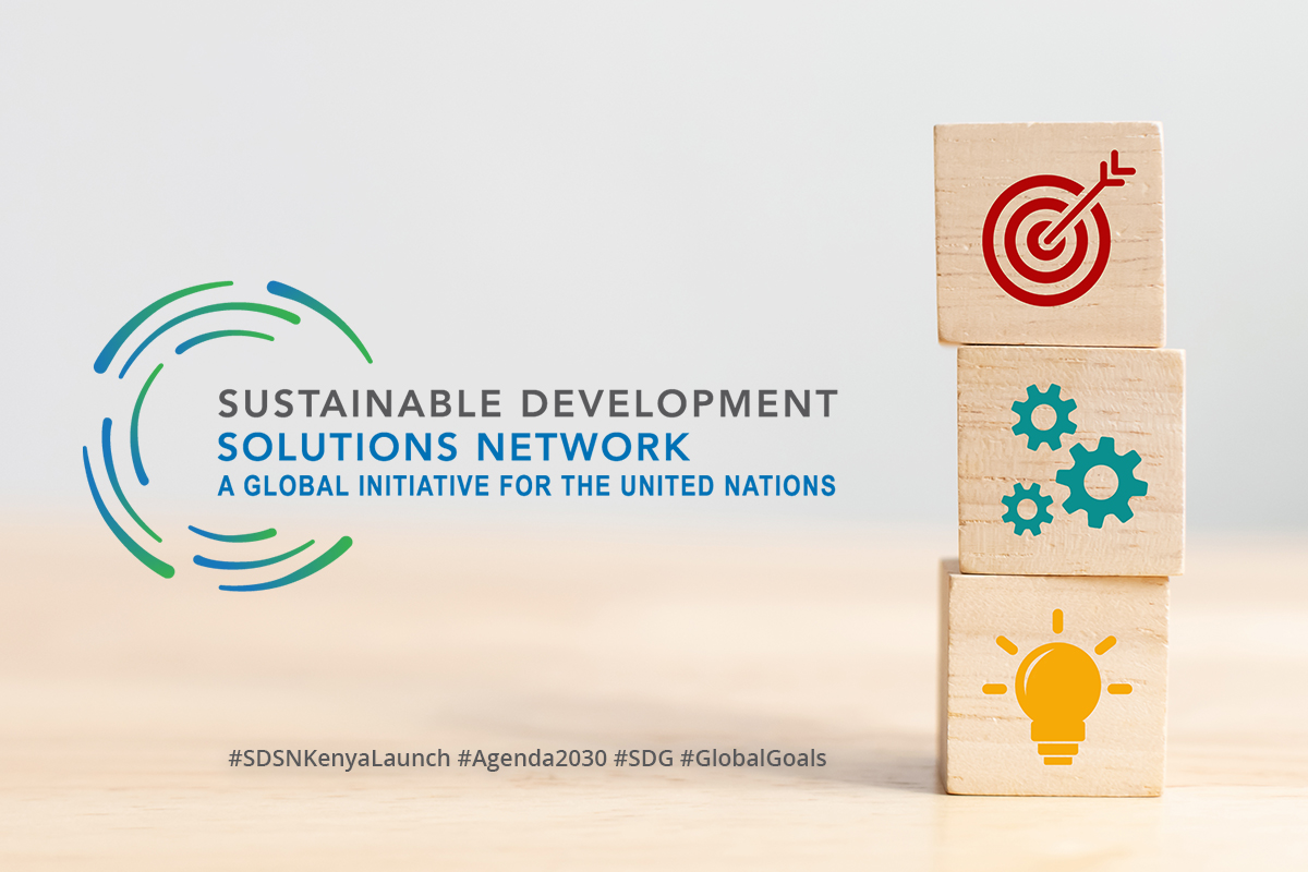 A poster created by BraIT Consulting Graphic Designers denoting the objectives of the United Nations Solutions Development Network (UNSDSN)