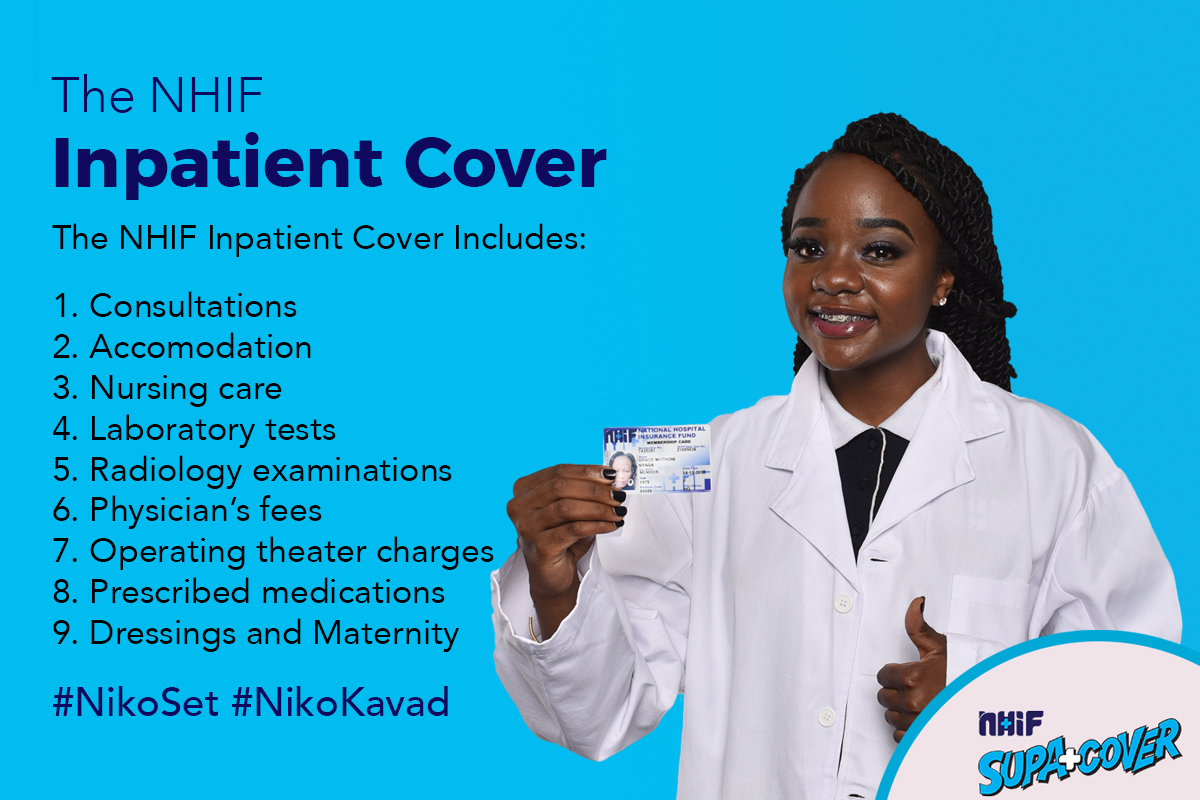 An infographic poster of a young nurse created by BraIT Consulting Graphic Designers explaining The National Hospital Insurance Fund (NHIF) Inpatient Cover